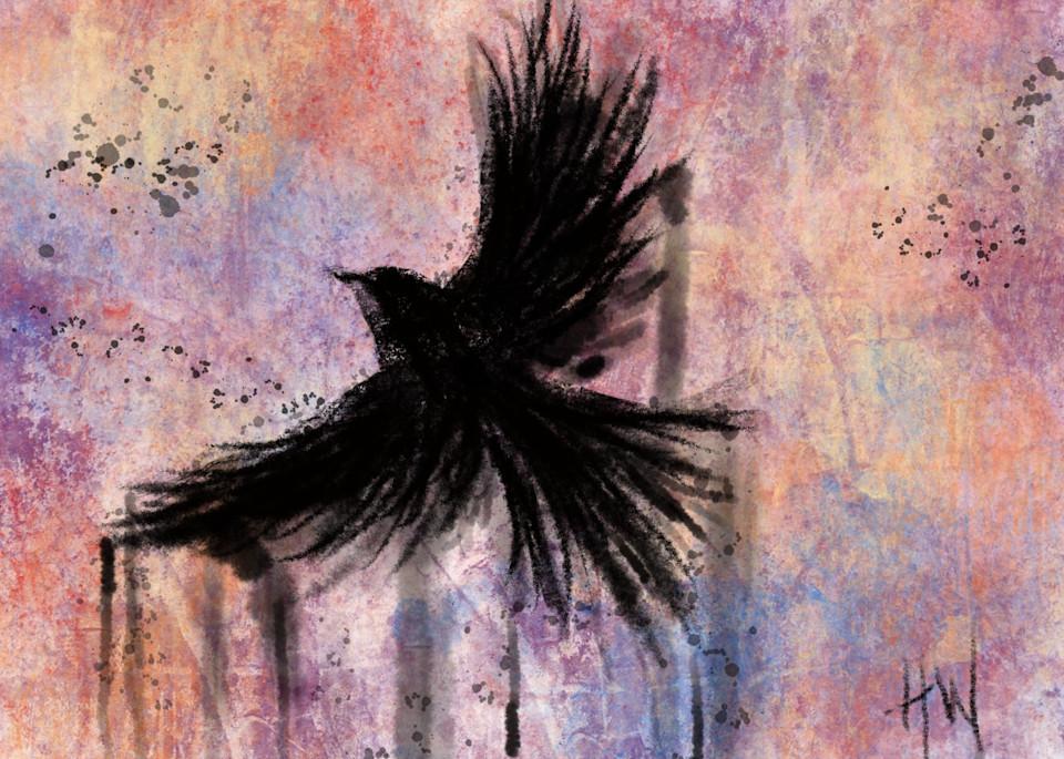 Crow in Flight, digital painting