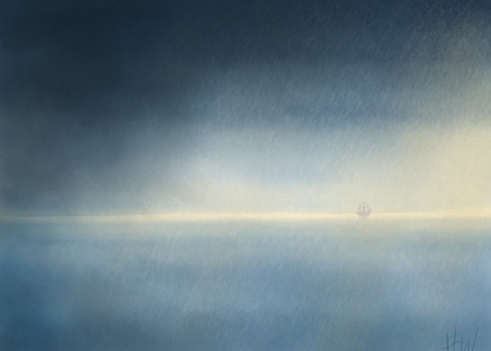 Weathered the Storm digital painting of ship at sea