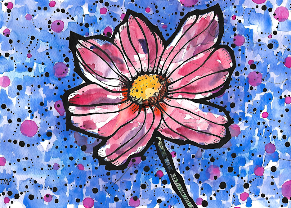 Matt Pierson Artworks   Bold Lines Red Flower with Staircasing Dots