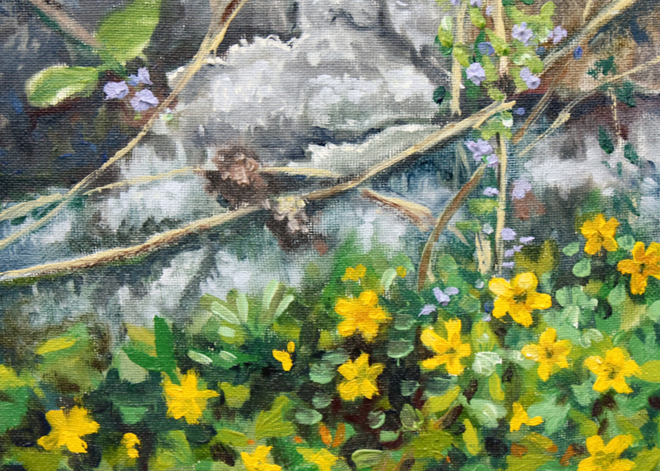 Spring flowers at the old wall fine art print
