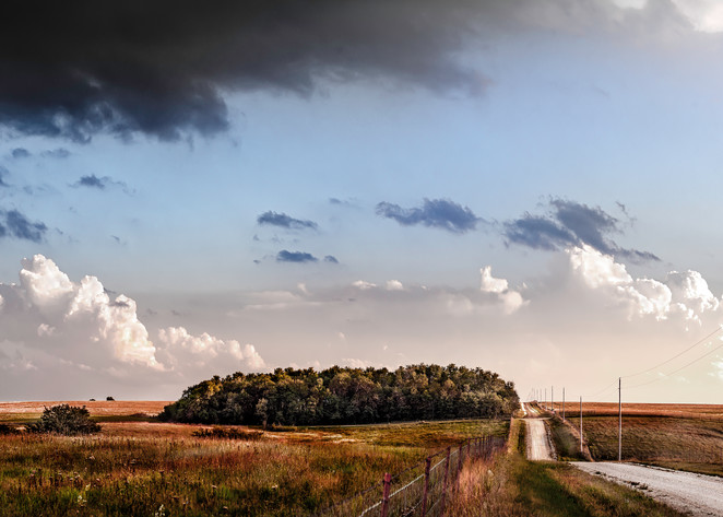 Storms Over the Prairie Collection - color   Back Road, the Kansas Flint Hills - color. Storm clouds build over a country road. Fine art photograph by David Zlotky