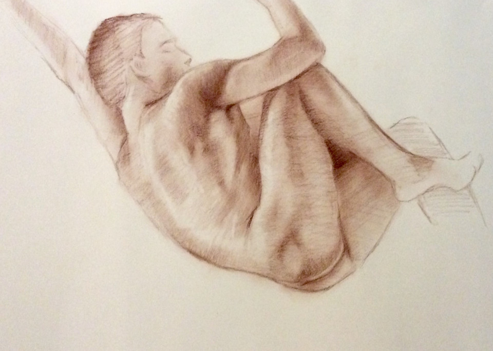 Study of Male Nude in Sepia Open Edition Fine Art Print