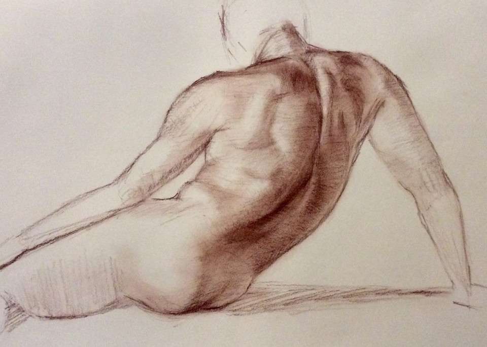 Study of Male Torso in Sepia Open Edition Fine Art Print