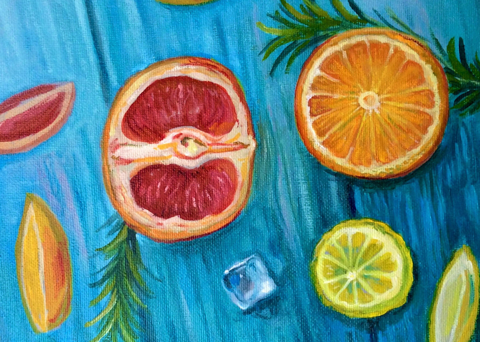 Citrus and an Ice Cube Still Life Fine Art Open Edition Print