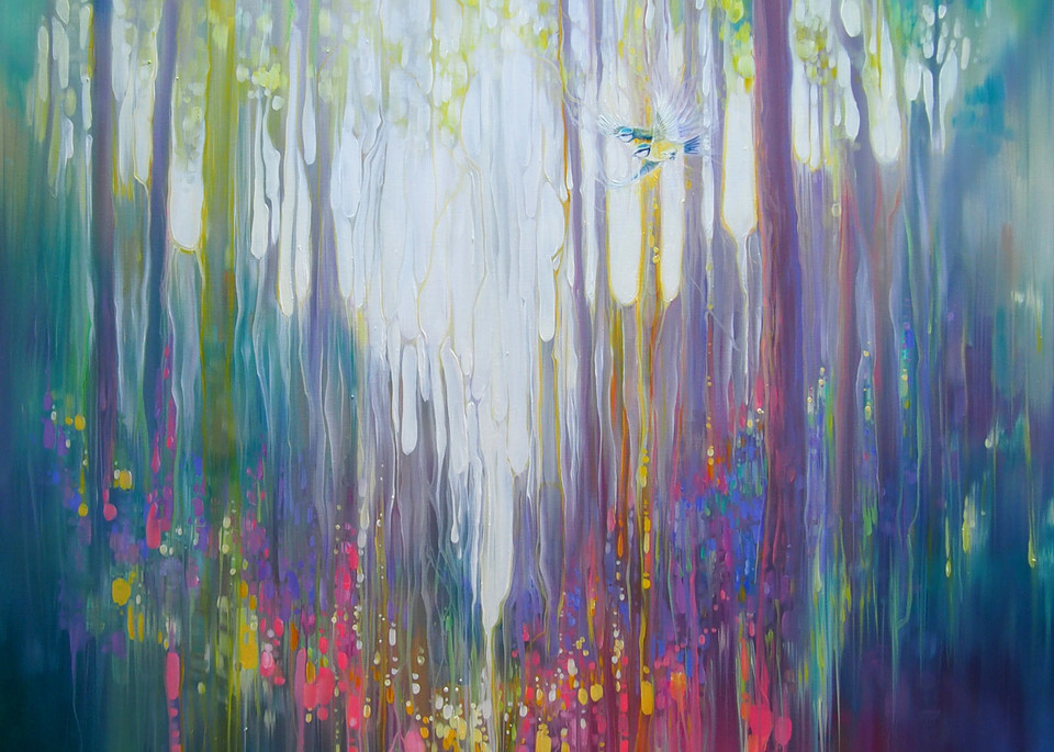 print of abstract forest clearing with wildflowers and woodland birds