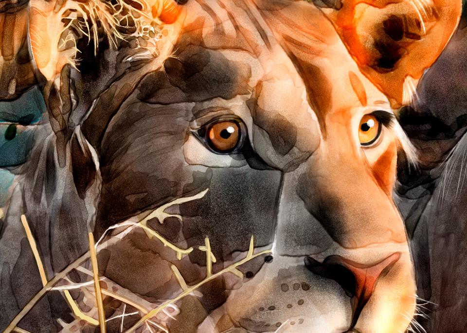 lioness, Thelma, big cat, lion, watercolor