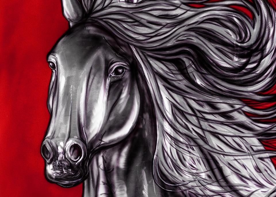 metal art, airbrush, horse, wildlife, canadian, native, metal grinded, spiritual