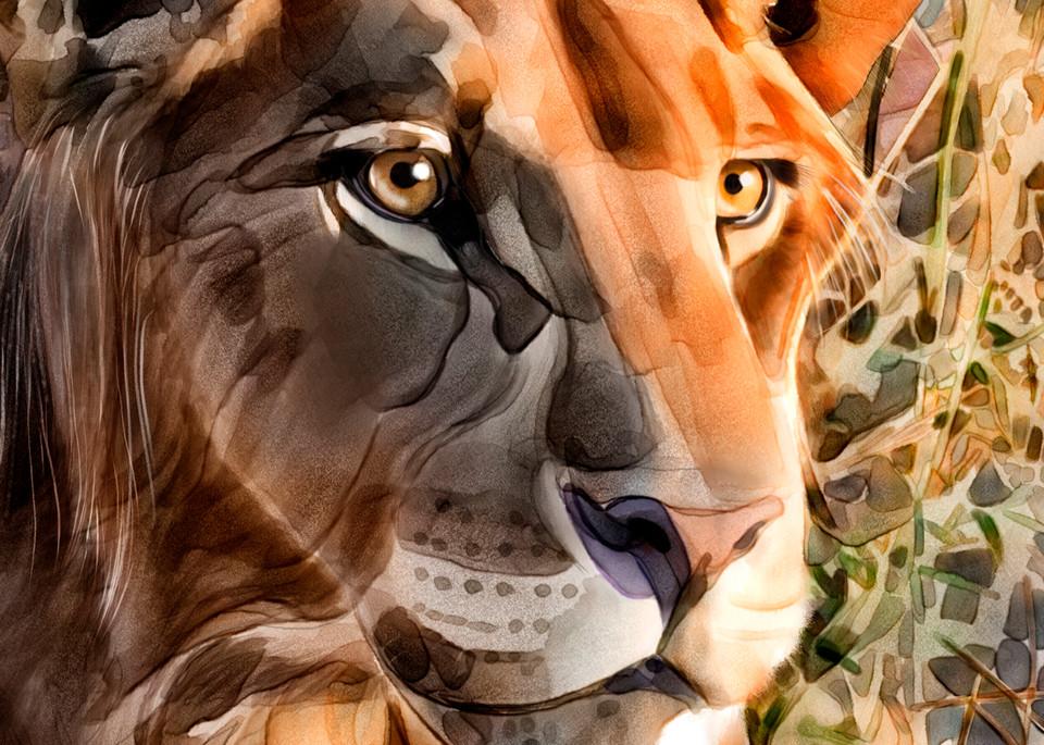 Louise, watercolor, lioness, warm colors