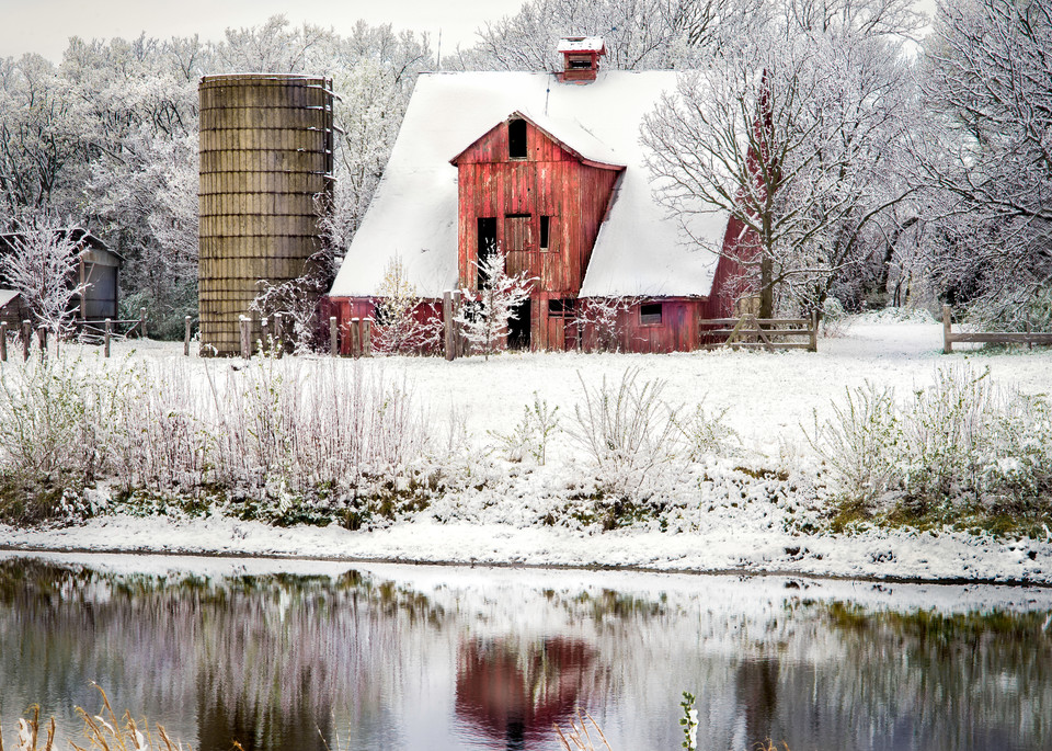Americana color fine art photograph: Easter snow reflections, by noted photographer, David Zlotky.