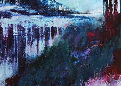 The Winter's Spring abstract landscape painting in blue and violet by Canadian artist Marianne Morris