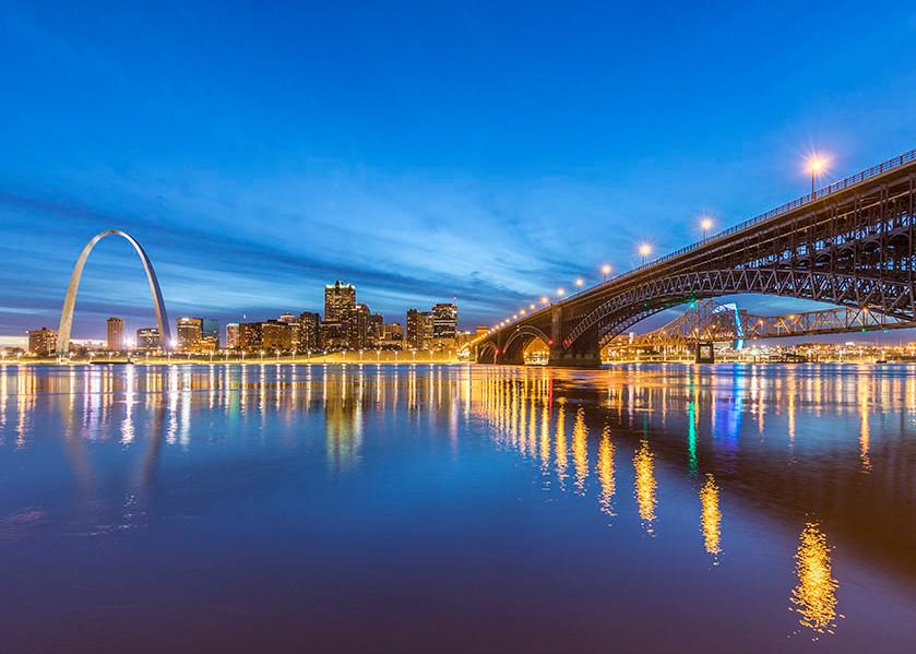 Blue Hour over Eads Bridge Panorama
