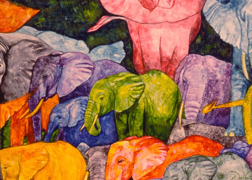 Elephant Party Gilcee Art Print by Dee Van Houten