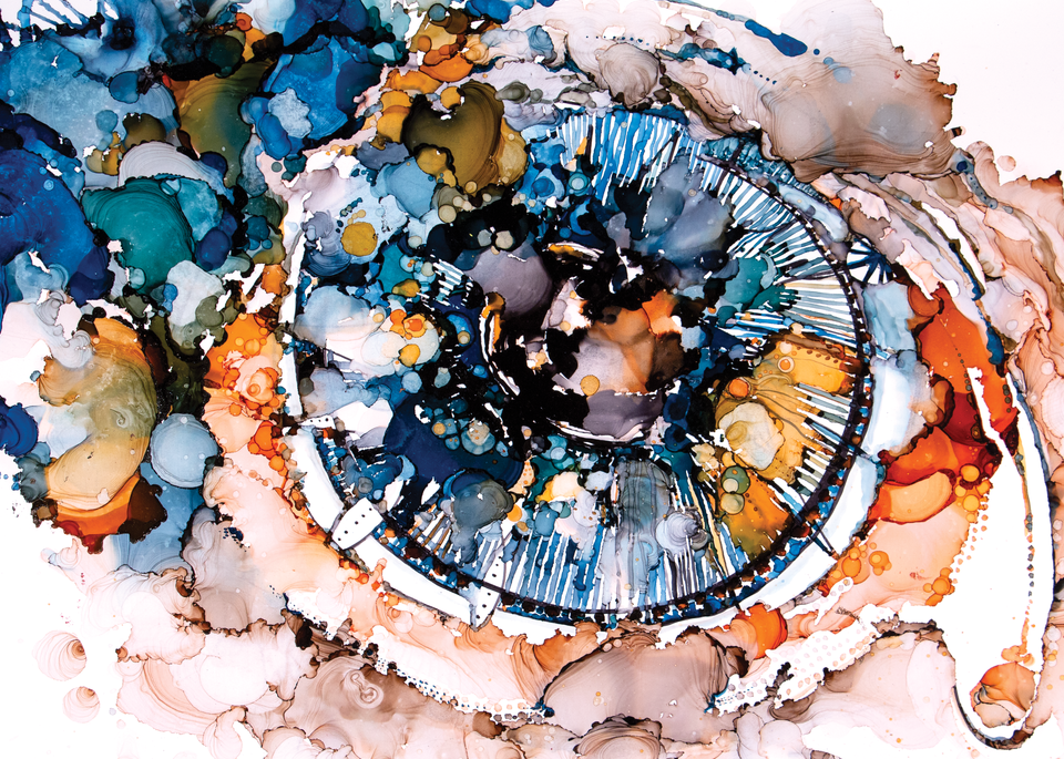 """premium print of """"Mirror,"""" an abstract intuitive paintings of an eye, ink on paper"""