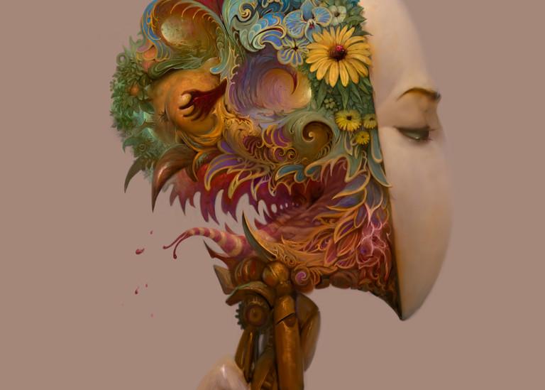 Burton Gray's painting of a Robot Fantasy