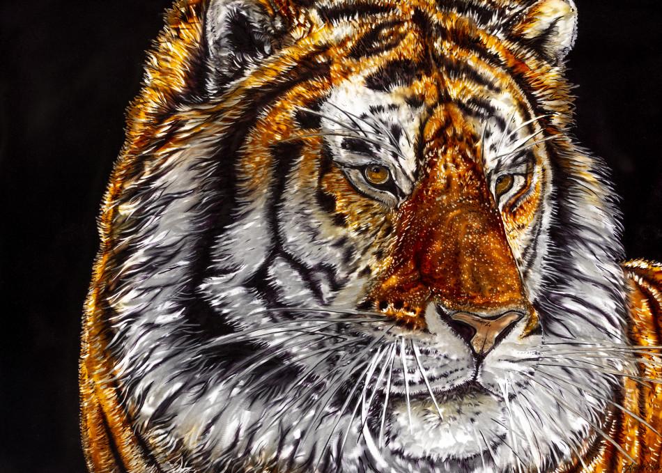 Majesty is a metal grinding airbrush art by aboriginal wildlife artist Amy Keller-Rempp