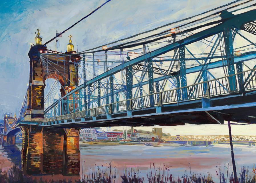 Tony Lipps Art Roebling Suspension Bridge Early morning