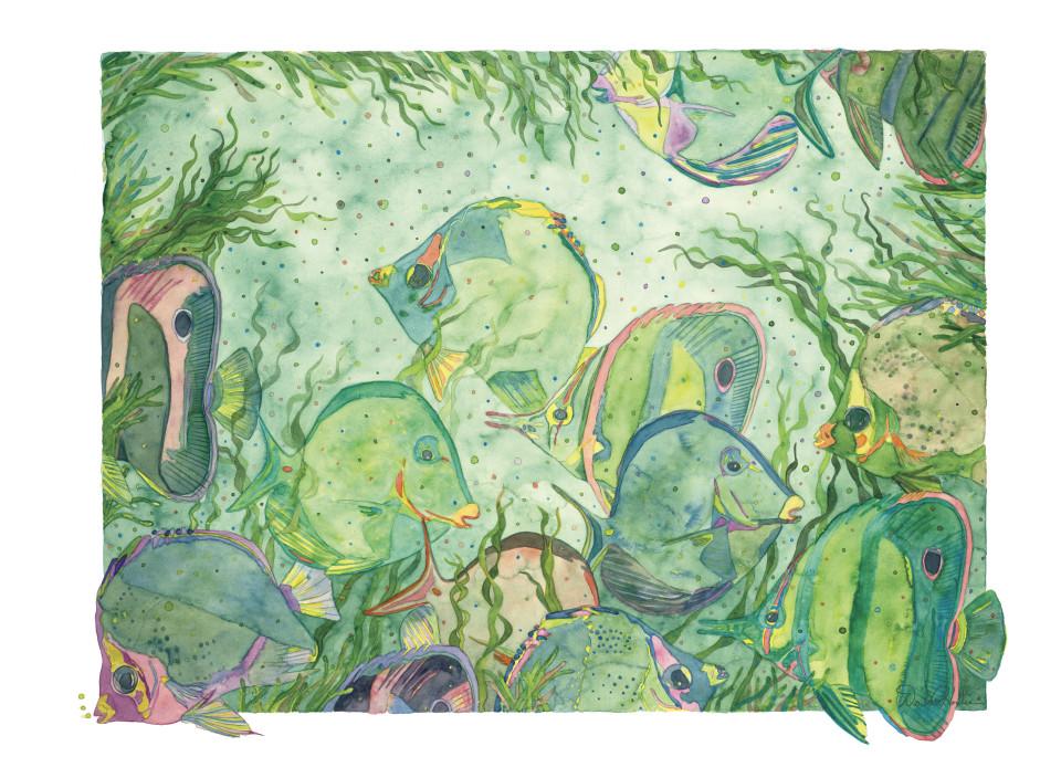 Silky Waters-A Watercolor Sea Life Painting by Dee Van Houten