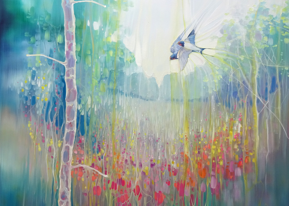 print on canvas or paper of a large, semi abstract painting of a summer meadow with swallows in sussex