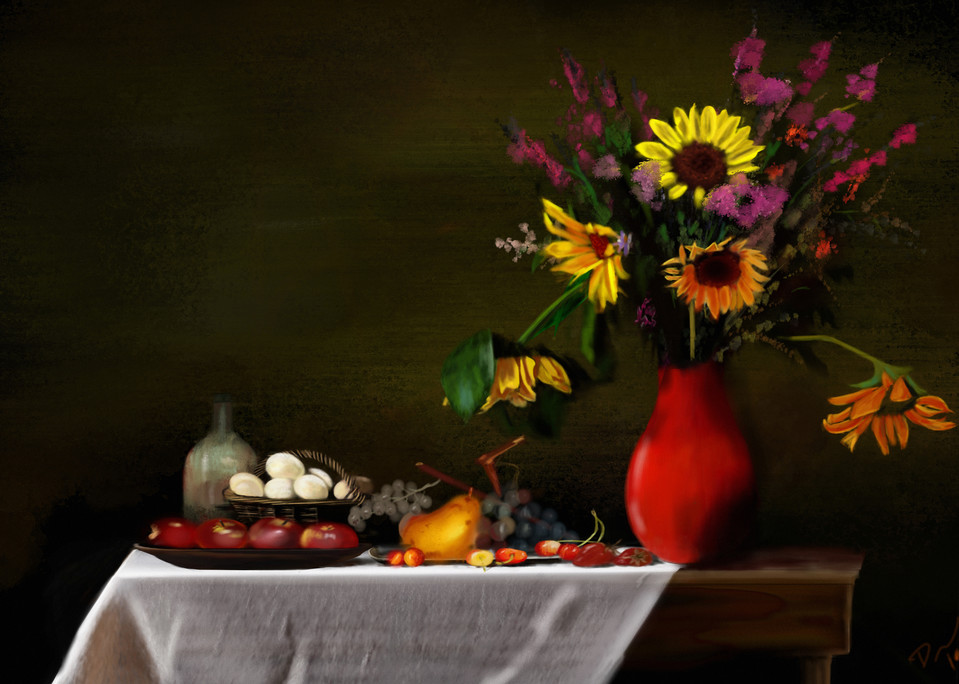 Sunflower And Apples  Art   Dave Fox Studios