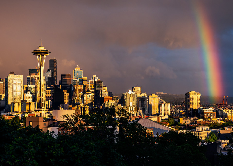 Rainbow from Kerry Park in Seattle
