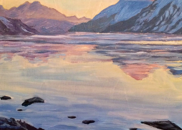 Turnagain Arm at Dawn Mountains and Ocean Alaska art print by Amanda Faith Thompson