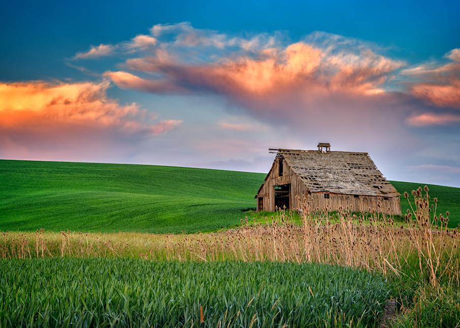 Sunset at the Old Barn by Rick Berk