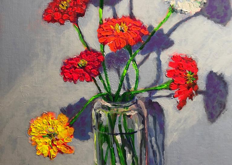 Happy Zinnias in the Light | Fine Art Painting Print by Rick Osborn