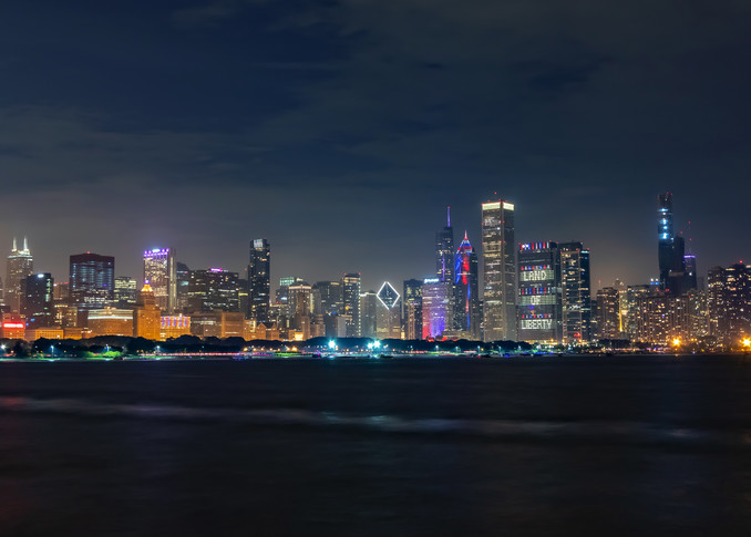 Chicago Skyline at Night on Independence Day - Chicago Skyline Canvas