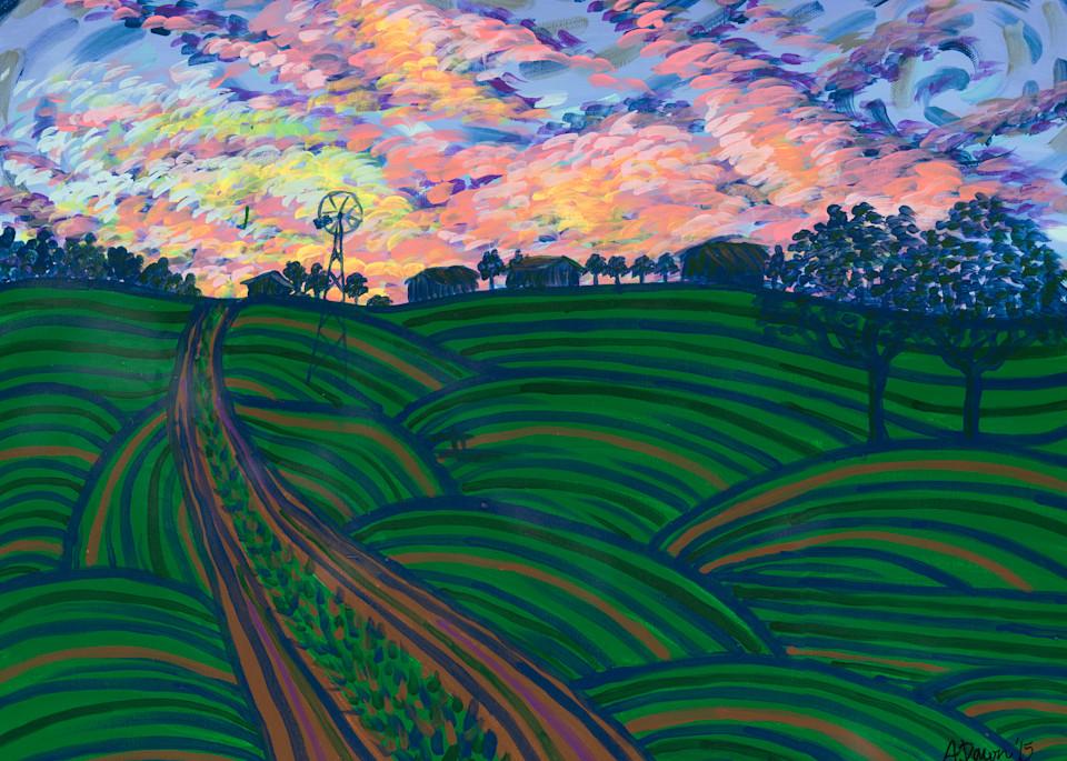 Sunset Over Grandma's Art   a.dawn art