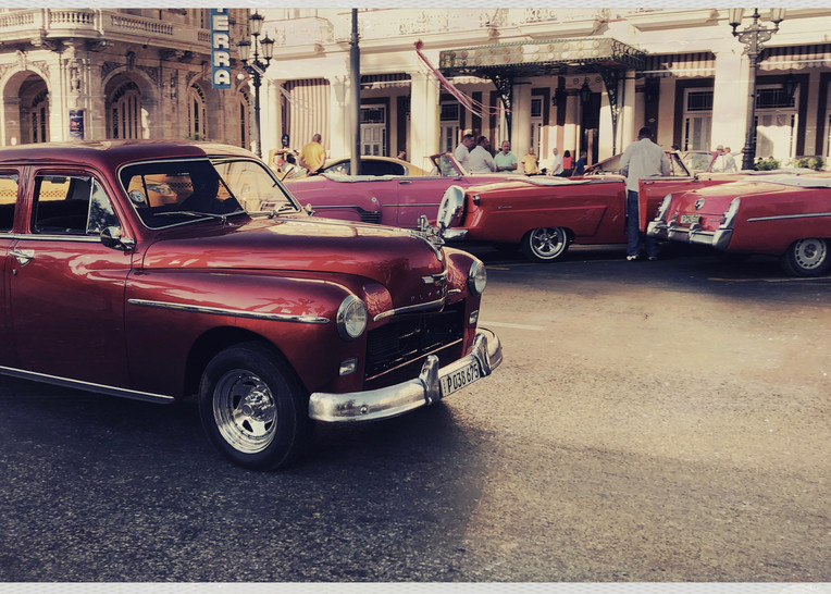 Red And Pink Vintage Autos Art | photographicsart