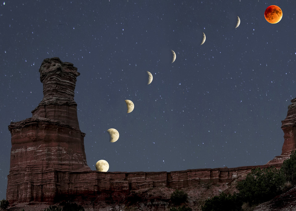Phases of the moon over Palo Duro