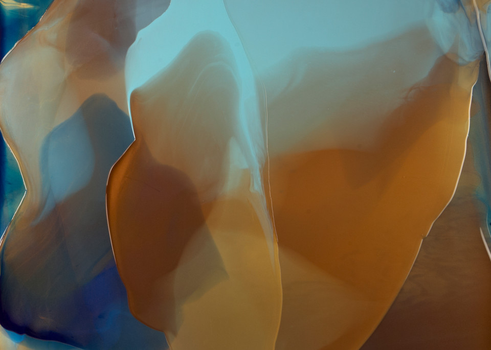 Through the Veil, abstract blue and copper painting