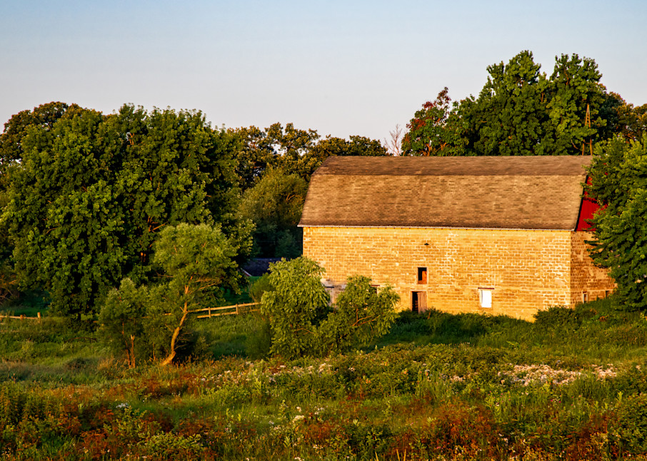 Morning on the farm barn photography print