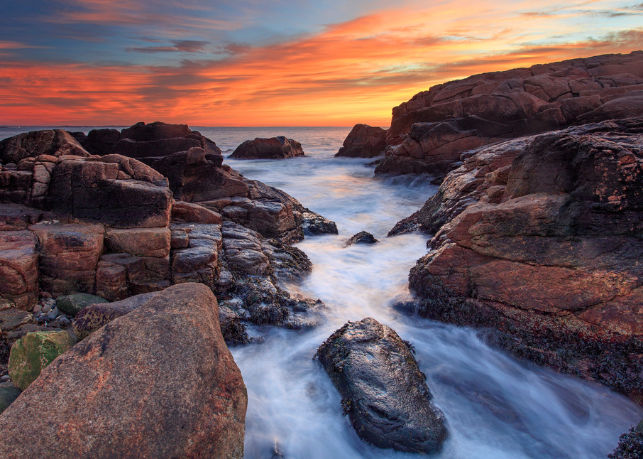 """Narragansett Winter Sunrise"" Rhode Island Coast Seascape Photography"