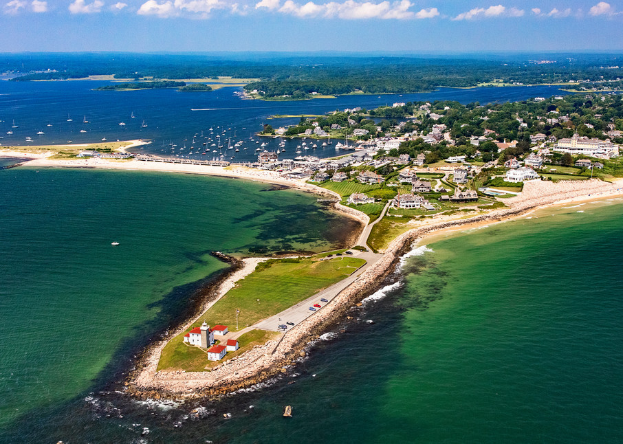 """Over Watch Hill Lighthouse"" Aerial Westerly RI Large Format Fine Art Photography"
