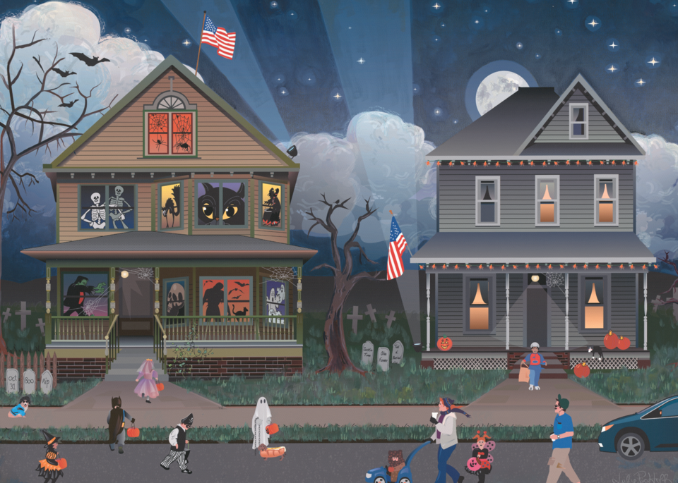 Halloween, Trick or Treating, candy.Family fun, art prints