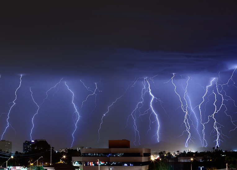 A barrage of lightning