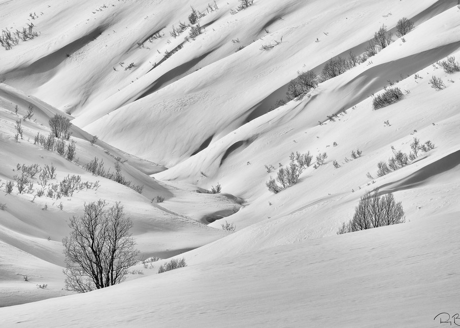 Snow blanketing the Talkeetna Mountains at Hatcher Pass creates flowing shapes in late winter in Southcentral Alaska. Afternoon.