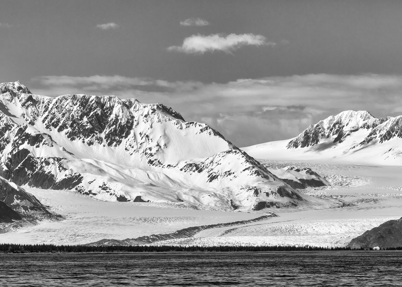 Bear Glacier and the Kenai Mountains near Seward in Southcentral Alaska. Spring. Afternoon.
