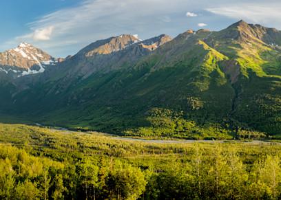 Composite Panorama Of Evening Sun On Polar Bear And Eagle Peaks And Hurdygurdy Mountain Overlooking Eagle