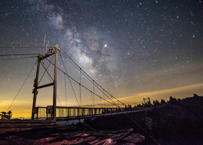 Grandfather Mountain Bridge At Midnight Art | Drew Campbell Photography