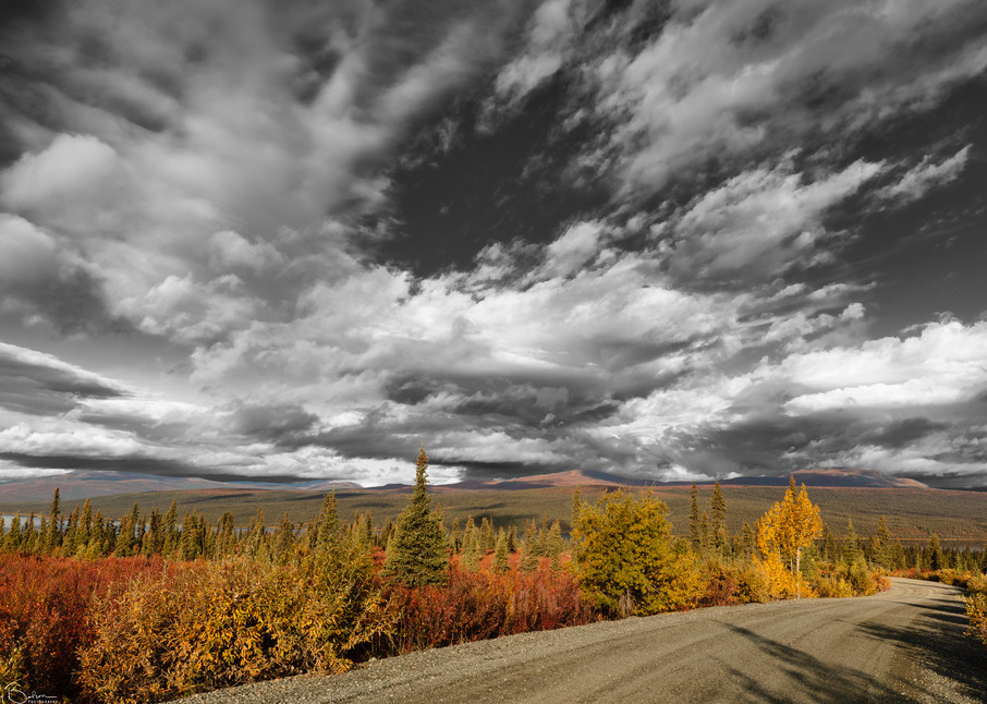 Clearing storm clouds at sunrise reveal colorful autumn colors at Paxson Lake in Interior Alaska.
