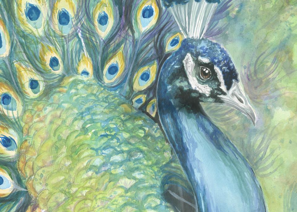 Green Watercolor Peacock