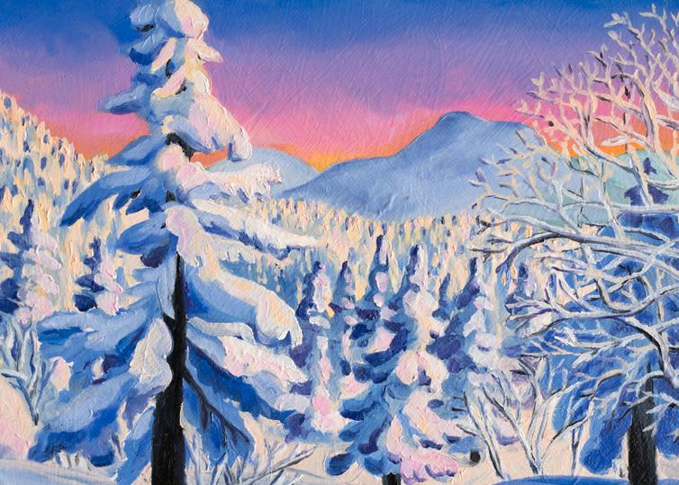 'Alpine Glow' Vermont Ski Art for Sale