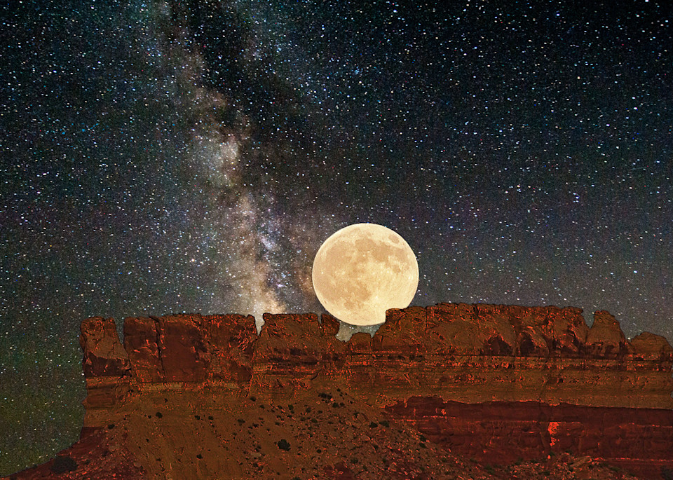 Moon on Butte and Milky Way