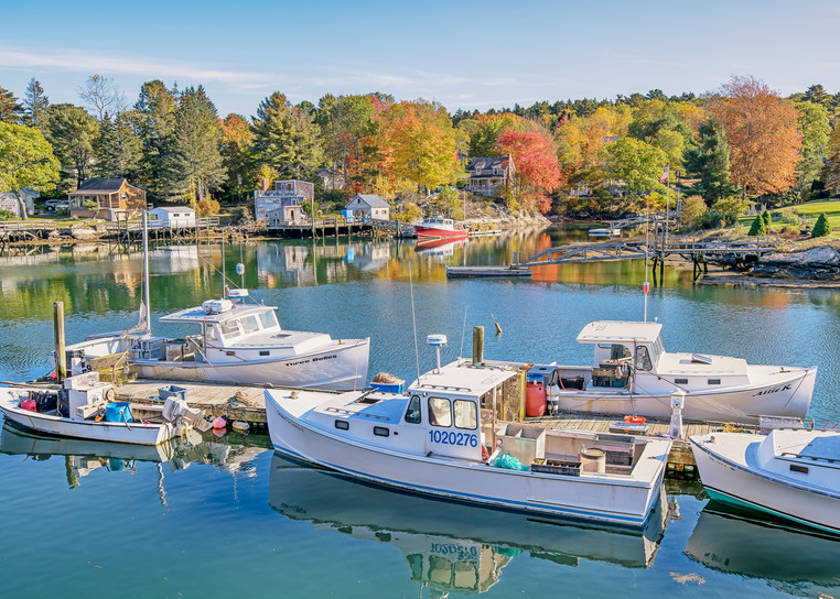 Boothbay Harbor Fall Dock Art | Michael Blanchard Inspirational Photography - Crossroads Gallery