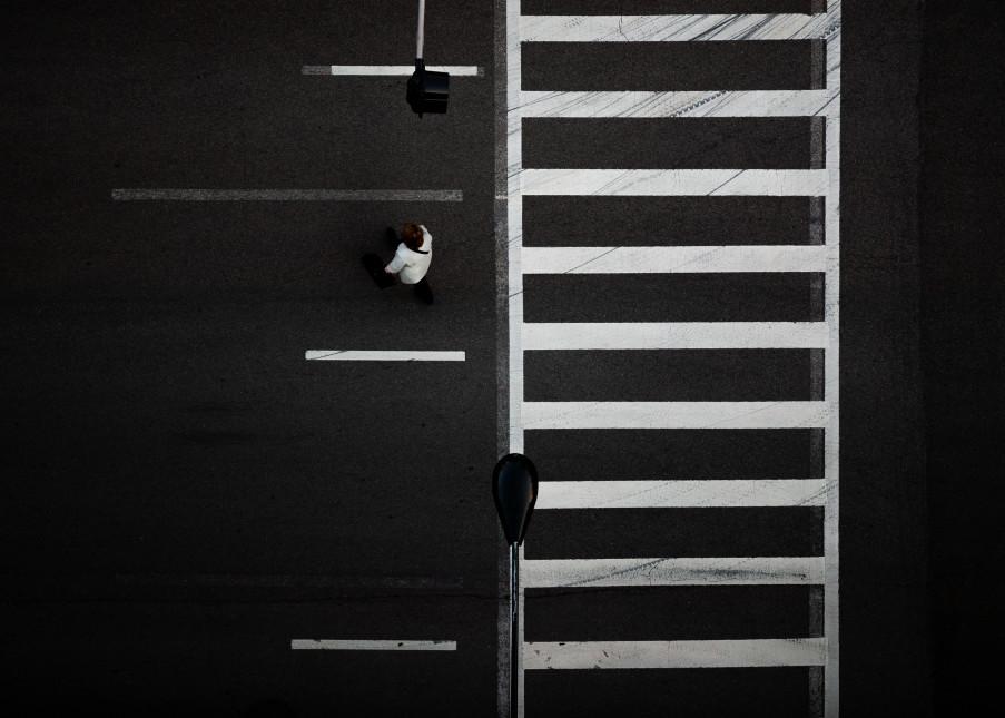 Overhead Graphic of Pedestrians Crossing Street, Chicago, Illinois