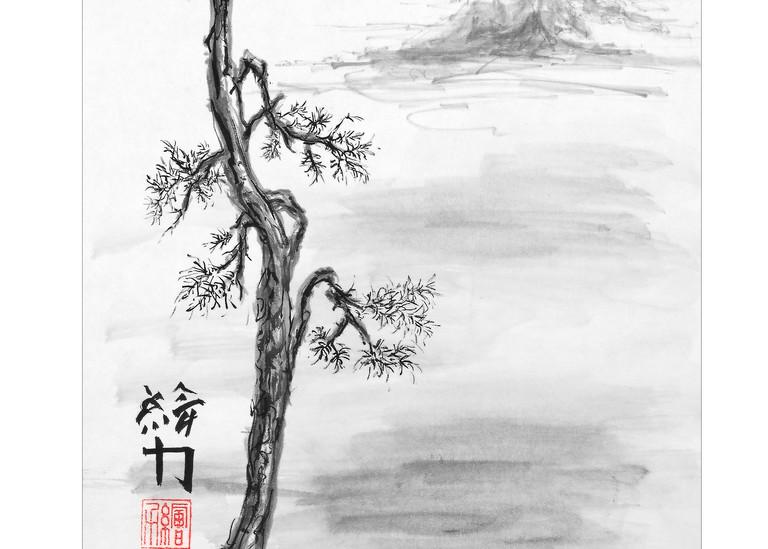 sumi-e, pinetree, pinetree four, black, ink
