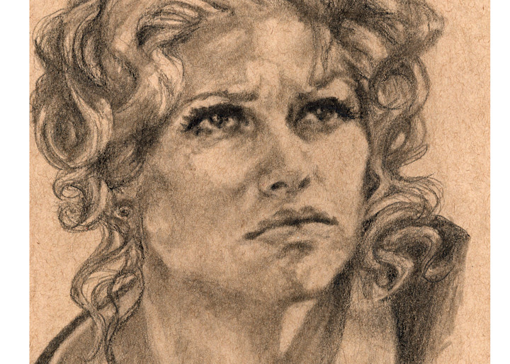 Claudia Cardinale, pencil and charcoal on toned paper by Ans Taylor
