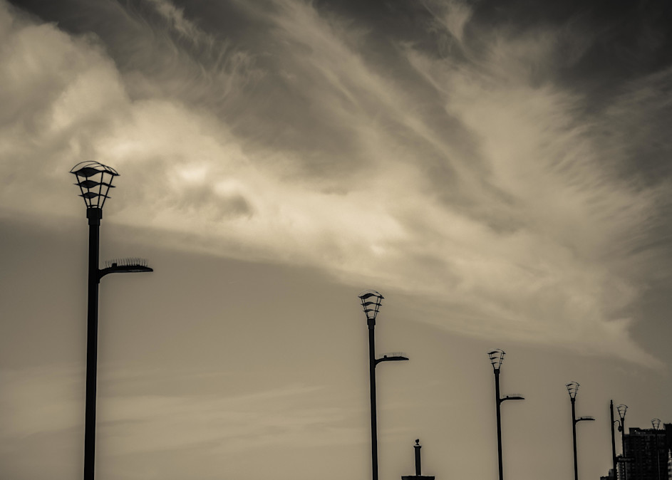 Lightstands And Clouds Atlantic City Photography Art | Dan Katz, Inc.